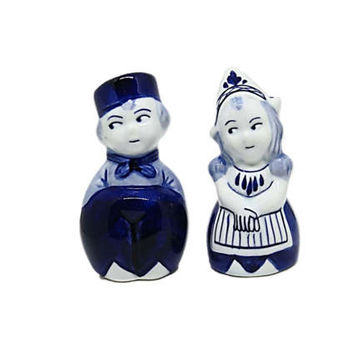 Delft Blue Salt & Pepper Set | Delft Ceramic Figures | Pottery Little Dutch Boy and Girl | Vintage Holland | Kitchen Dining Tableware
