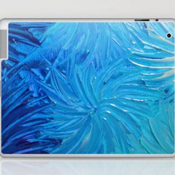 WATER FLOWERS 2 - Stunning Ocean Beach Waves Floral Abstract Acrylic Painting Turquoise Blue Navy Laptop & iPad Skin by EbiEmporium | Society6