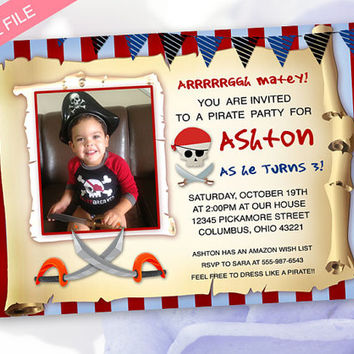 Pirate Birthday Invitation - Pirate Party - Pirate Photo Birthday Party Invitation - You Print DIY