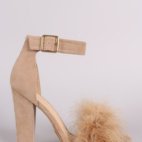 Shoe Republic Faux Fur Ankle Strap Dress Heel