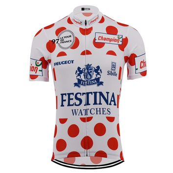 NEW Red dots Champion version cycling jersey short sleeve Retro pro team racing road bike wear cycling clothing Ciclismo