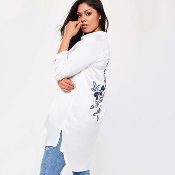 Kissmilk Plus Size Solid White Women Blouses Floral Embroideried Long Sleeve Female Clothing
