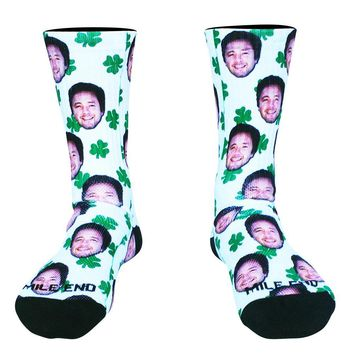 Clovers and Custom Face Athletic Crew Socks