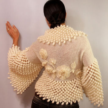 Blossom Fairy / Ivory Crochet Shrug Knit Bolero Wedding Bridal Shrug Bolero Jacket Cardigan Sweater Swarovski Crystal Flowers By Lilithist