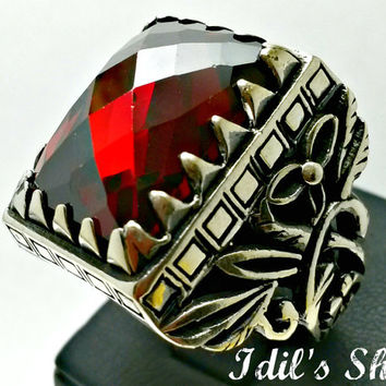 Men's Ring, Turkish Ottoman Style Jewelry, 925 Sterling Silver, Authentic Gift, Traditional, Handmade, With Garnet Stone, US Size 11, New