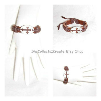 CROSS BRACELET Women's Men's Unisex Hemp Cross Weave BROWN Leather Bracelet Jewelry