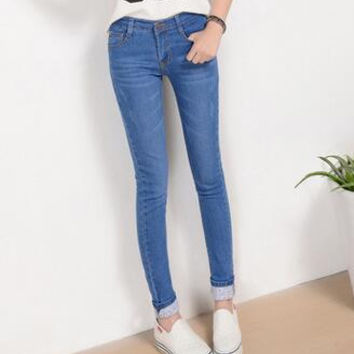 Jeans Female Casual Trousers Pencil Pants Jeans Woman High Waist Jeans