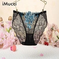 ONETOW iMucci Sexy Women G-String Open the crotch Women Underwear Ladies Embroidered Spandex+Lace Panties Flower Plus Size Underwear