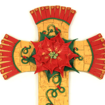 Poinsettia Christmas Cross, Shabby Chic Cross, Mosaic Cross, Decorative Cross, Handmade Cross, Mosaic Art, Wall Cross, Religious Gifts, Red
