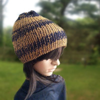 Knit Hat Golden Blue Womens beanie hat by Noratones