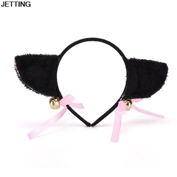1 pcs Lovely Bell Hairwear Women Fashion Charming Lovely Fox Cat Ear Fur Hair Clip Hairband