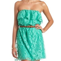 STRAPLESS BELTED RUFFLE LACE DRESS