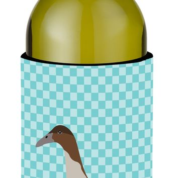 Dutch Hook Bill Duck Blue Check Wine Bottle Beverge Insulator Hugger BB8035LITERK