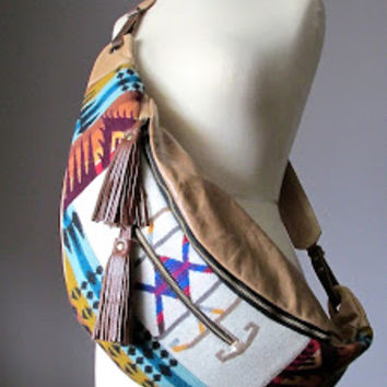 Slouchy Crossbody Leather Bag, Leather and Wool bag, Bohemian shoulder bag, Crossbody wide strap, cotton lined