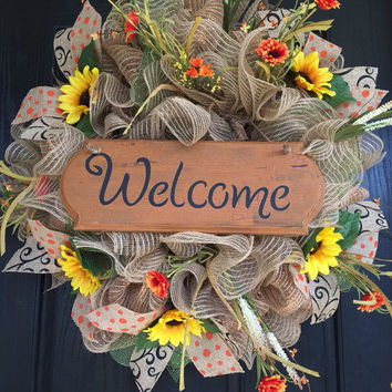 Everyday deco mesh wreath, front door wreath, deco mesh wreath, sunflower deco mesh wreath, home mesh wreath, burlap wreath,sunflower wreath