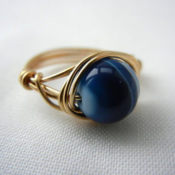 Blue Banded Agate Ring, Agate Ring, Blue Stone Ring, Wire Wrapped Jewelry Handmade, Wire Wrap Ring, Agate Jewelry