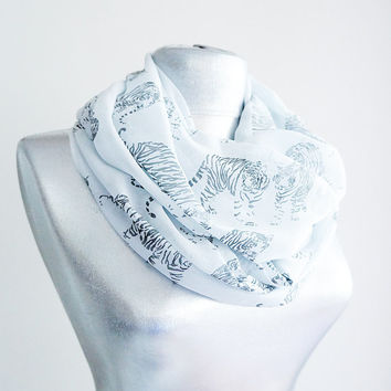 Handmade Tiger Infinity Scarf - Summer Chiffon Scarf - Light Gray