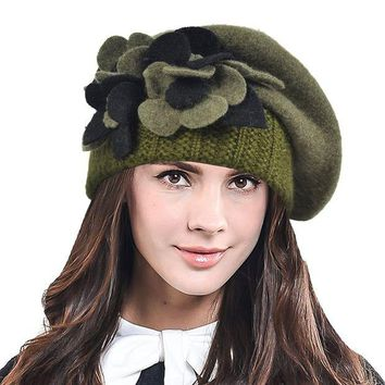 DCK4S2 HISSHE Lady French Beret 100% Wool Beret Chic Beanie Winter Hat HY023