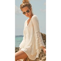Elegant Wrikled Cotton Swim Suit Cover up / Beach Mini Dress with Lace Sleeves