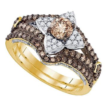 14kt Yellow Gold Women's Cognac-brown Color Enhanced Diamond Bridal Wedding Engagement Ring Band Set 1-1/3 Cttw - FREE Shipping (US/CAN)