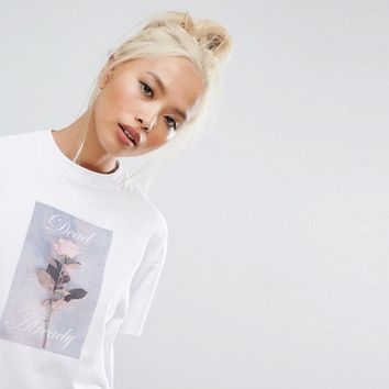 Lazy Oaf Oversized T-Shirt With Rose at asos.com