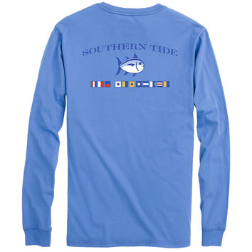 Long Sleeve Nautical Flags Tee Shirt in Cool Water by Southern Tide