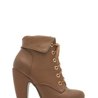 Faux Leather Collared Lace-Up Booties GoJane.com
