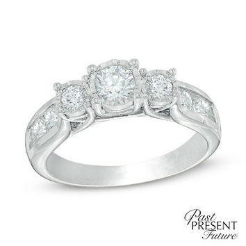 1 CT. T.W. Diamond Past Present Future® Engagement Ring in 14K White Gold - View All Rings - Zales