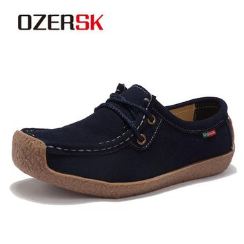 OZERSK 2018 New Spring Shoes Woman Cow Suede Leather Flats Lace-Up Women's Loafers Moccasins Female Oxfords Shoes Women Shoes
