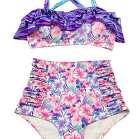 Pink Violet Flora Top and High waisted Highwaist Shorts Bottom Vintage Style Swimwear Swimsuit Swimwears Bikini 2PC Swim Bathing suit S M