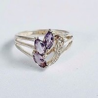 Purple Glass Amethyst Stone Ring Sterling Silver Size 7 Signed 4 gm Accent Clear
