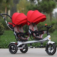 Three Wheels Bike Jin Ming Twins Children Tricycle Double Hand Push Bicycle Seat Two-Way Baby Stroller