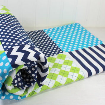 Baby Blanket, Fleece Blanket, Boy Blanket, Crib Blanket, Photography Prop, Nautical, Lime Green, Turquoise, Navy Blue Chevron, Dots, Stripes