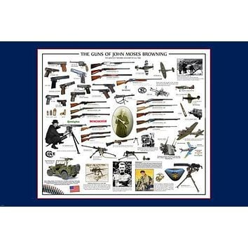 THE GUNS OF JOHN MOSES BROWNING POSTER also on cars planes detailed  24X36-UY1