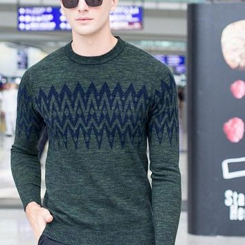 Men's Winter Wool Pullover Patchwork Geometric Pattern Men Knitted Casual Sweaters Jacquard Boutique Men Clothing