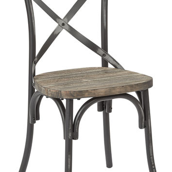 Office Star Somerset X-Back Antique Black Metal Chair with Hardwood Rustic Walnut Seat Finish [SMR424WAS-AB]