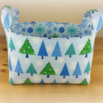 Blue Christmas Trees with Snowflakes ~ Medium Fabric Basket Storage Bin