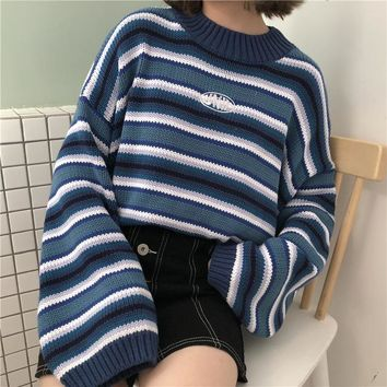 Spring New Women Sweaters 2018 Harajuku Kawaii Sweaters Cute Sweet Vintage Striped Oversize Knit Pullover Sweaters