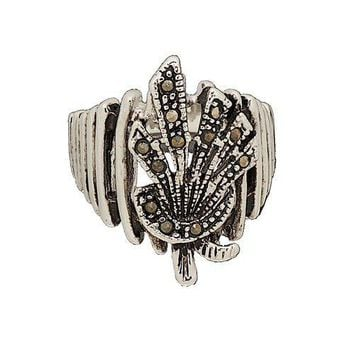 Stalk of Wheat Ring in Graduated Shape Set With Genuine Marcasite