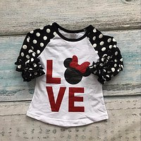 new baby girls restock three quarter cotton boutique cute top T-shirt raglans clothing ruffles polka dot love minnie mouse