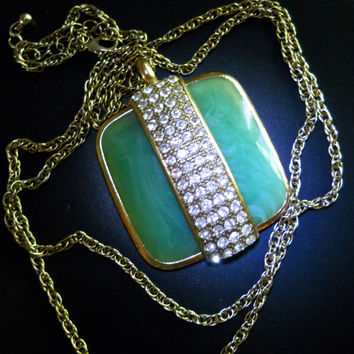 Green Pendant Necklace, Clear Rhinestones, Square Lucite Swirl, Vintage