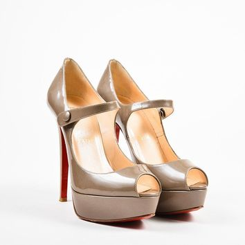 ONETOW Christian Louboutin Grey Patent Leather Mary Jane Platform Pumps