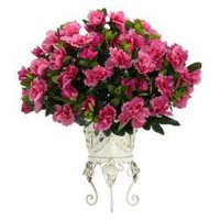 Azalea with Metal Planter Silk Plant | Overstock.com