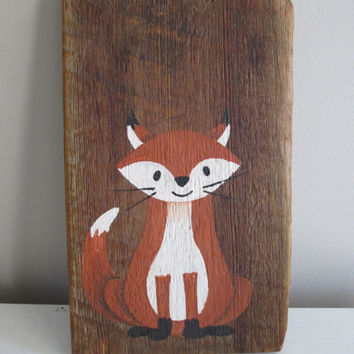 Home Decor Reclaimed Wood Art - Fox - Woodland Art - Painting (Gift for Dad, Husband, Brother)