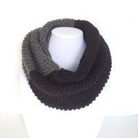 Knitted Scarf, Grey Knit Scarf, Grey Cowl, Infinity Scarf, Gift For Her, Black Gray Scarf, Chunky Knit Scarf.