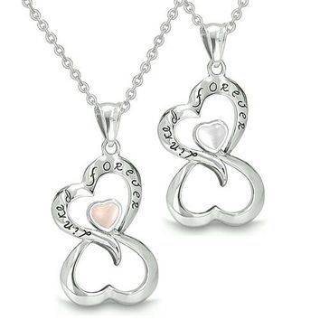 Amulets Infinity Hearts Linked Forever Couple Best Friends Eternity White Pink Cats Eye Necklaces