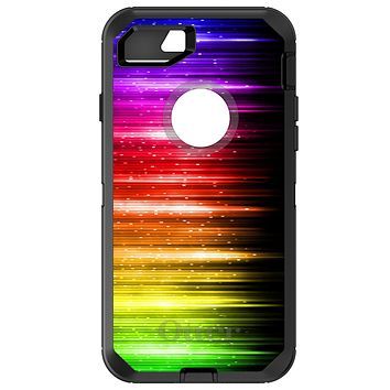 DistinctInk™ OtterBox Defender Series Case for Apple iPhone or Samsung Galaxy - Rainbow Light Glowing Lines