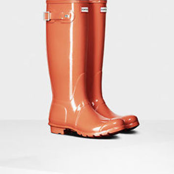 HUNTER ORIGINAL TALL GLOSS SUNSET WELLINGTON BOOTS Welly ORANGE CORAL NIB NWT
