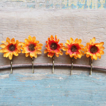 Autumn Hair Flower, Sunflower Hair clips,flower bobbies, hair barrettes, wedding accessory, flower girl, baby hair flower, yellow, orange