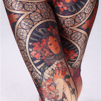 Alphonse Mucha Print Yoga Leggings-Alfons Mucha Tights-Christmas Stocking-Yoga Tights-Handmade Woman Leggings Yoga Pants-Leg Socks Clothing